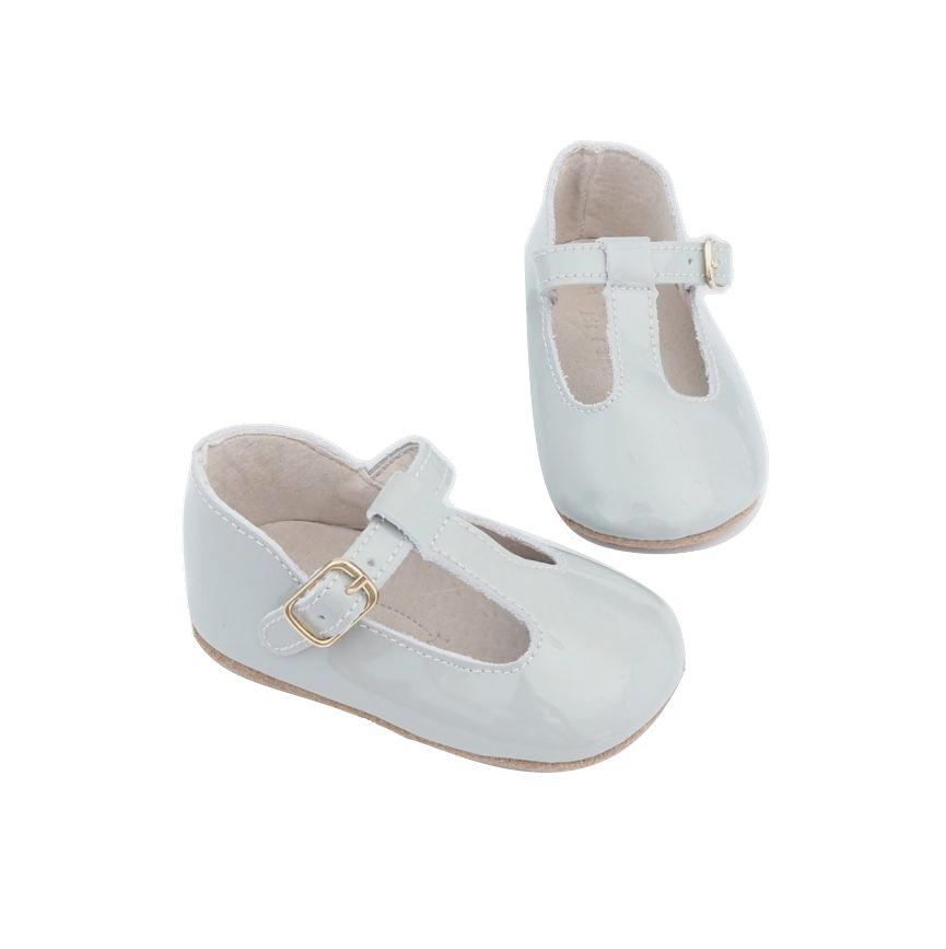 Baby Shoes - Paris grey baby t-bar shoes for babies & toddlers, Girls Kit & Kate soft soles natural leather 9