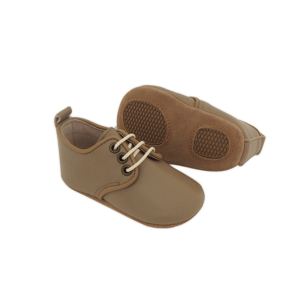 Baby Shoes - Olive Green Oxford Shoes for Babies & Toddlers. Soft Soles Natural Leather Boys & Girls Kit & Kate 6