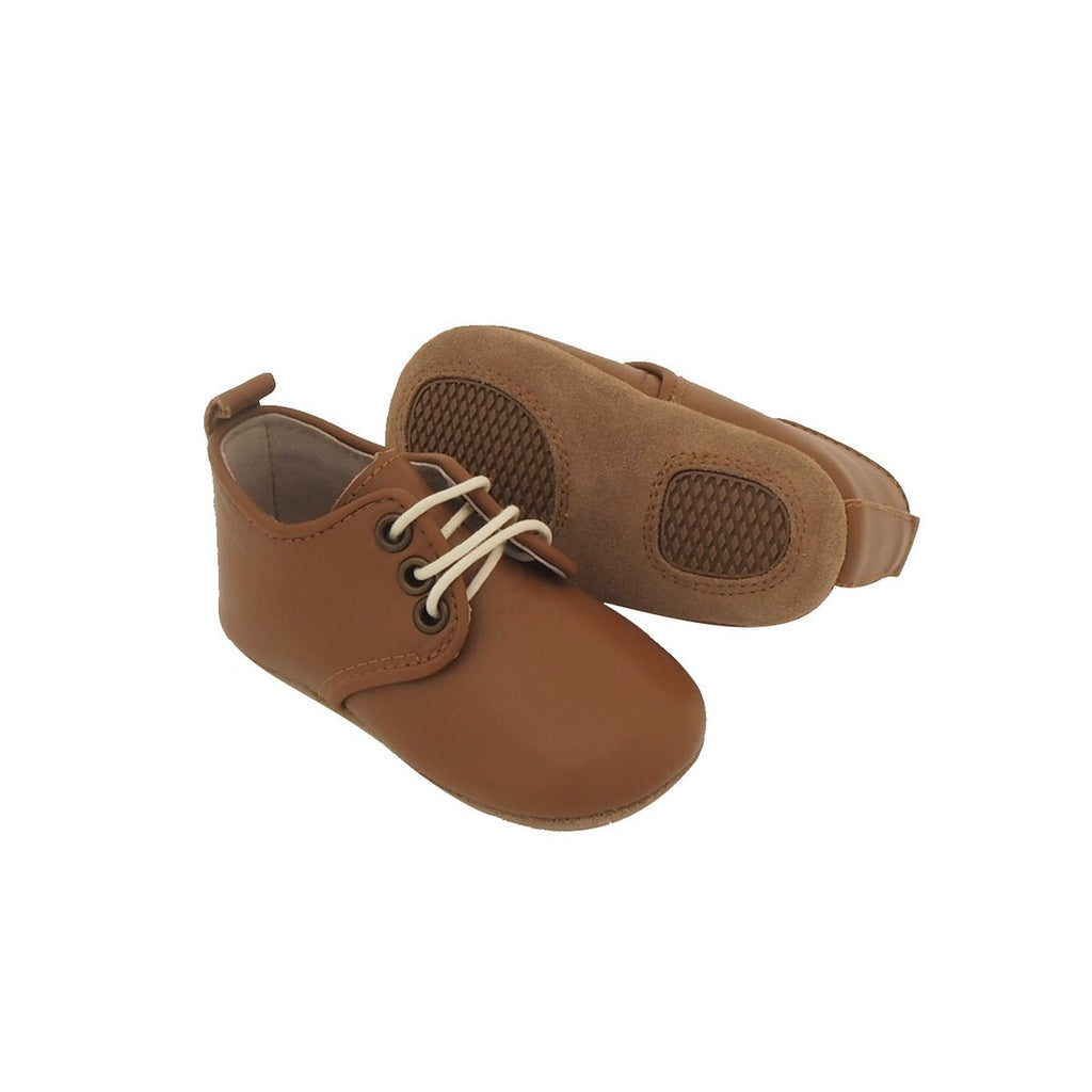 Baby Shoes - Caramel Oxford Shoes for Babies & Toddlers. Soft Soles Natural Leather Boys & Girls Kit & Kate 6