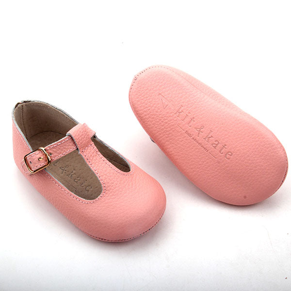 Baby Shoes - Paris baby t-bar shoes for babies & toddlers little girls,, soft soles natural leather pink Kit & Kate c24