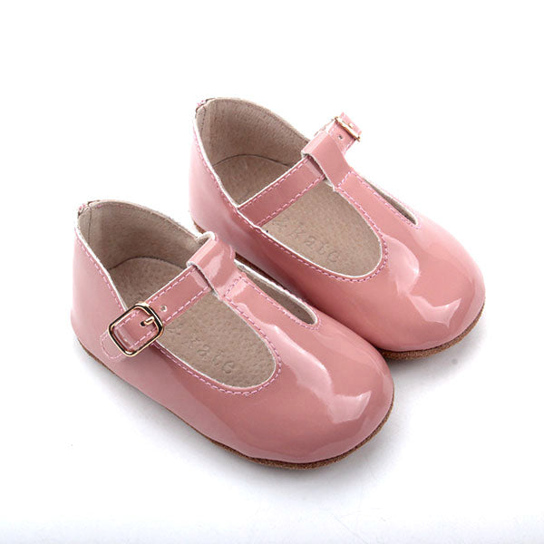 Baby Shoes - Paris baby t-bar shoes for babies & toddlers, soft soles , patent pink Kit & Kate natural leather 31