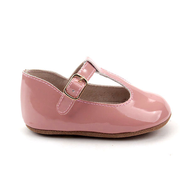 Baby Shoes - Paris baby t-bar shoes for babies & toddlers, soft soles , patent pink Kit & Kate natural leather 30