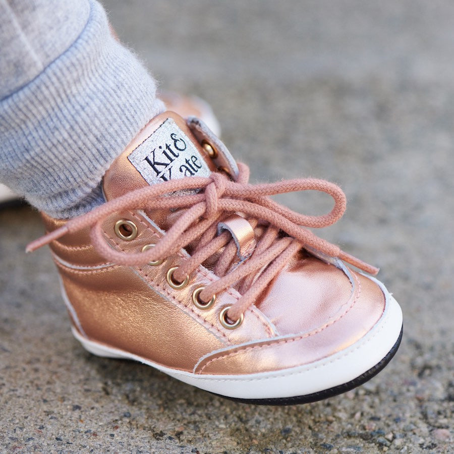 Baby Shoes - Rose Gold  Brooklyn Sneakers / Hightops - Shoes for babies & toddlers, soft soles natural leather Boys & Grls  Kit & Kate Australia 16