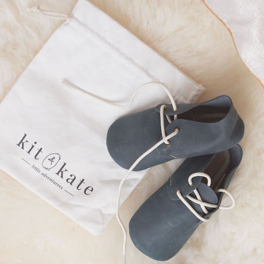 Baby Shoes - Teal Nubuck Oxford Shoes for Babies & Toddlers. Soft Soles Natural Leather boys & Girls Kit & Kate Perth Western Australia 5
