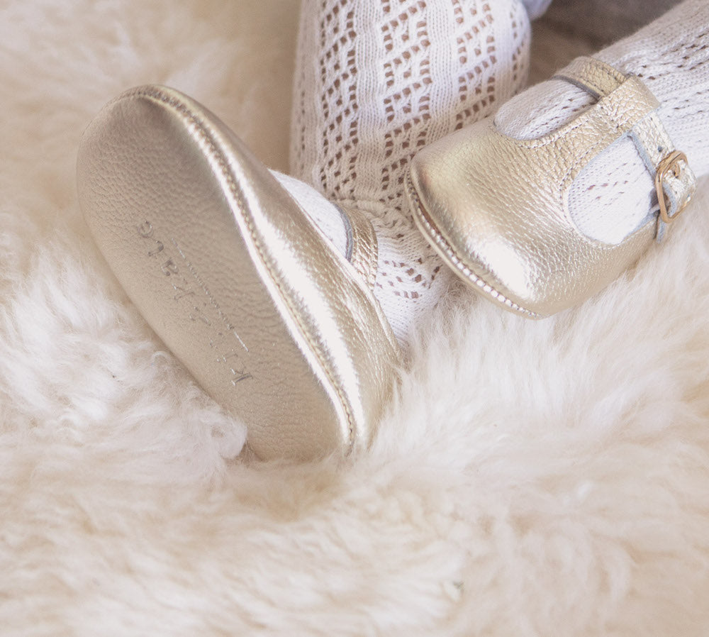 Baby Shoes - Gold Paris baby t-bar shoes for babies & toddlers little girls,, soft soles natural leather Kit & Kate c34