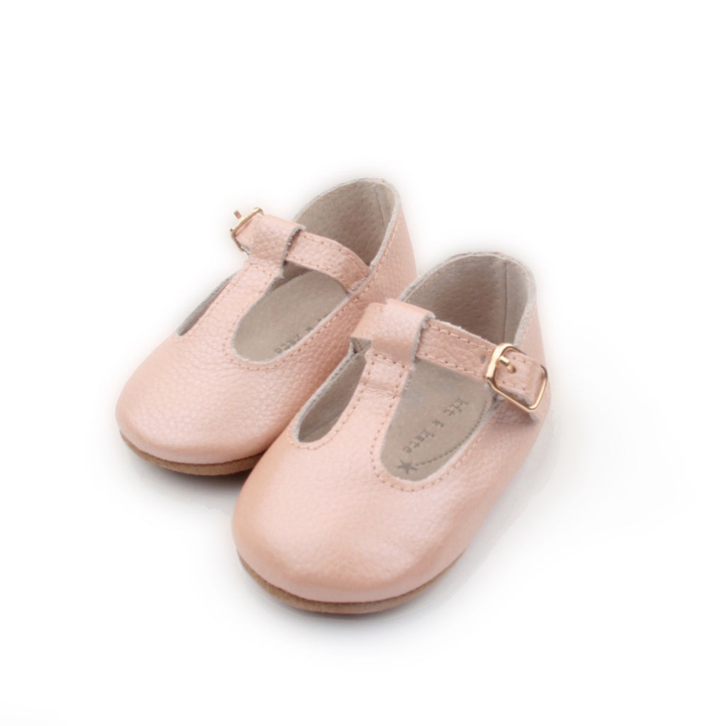 Baby Shoes - Paris patent pink baby t-bar shoes for babies & toddlers, Girls Kit & Kate soft soles natural leather 10