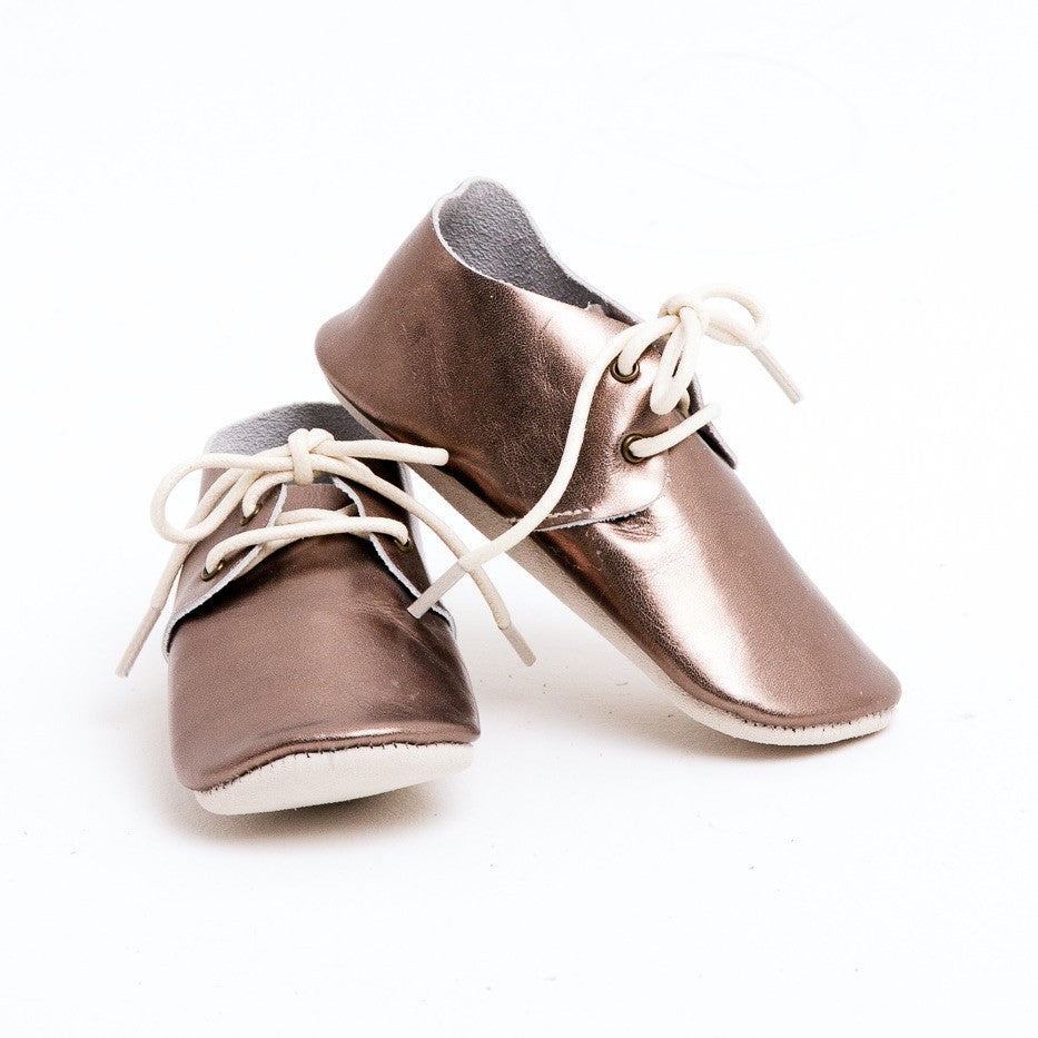 Baby Shoes - Metallic Silver Platinum Oxford Shoes for Babies & Toddlers. Soft Soles Natural Leather boys & Girls Kit & Kate Perth Western Australia 1