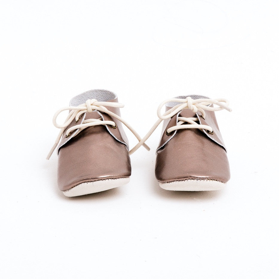Baby Shoes - Metallic Silver Platinum Oxford Shoes for Babies & Toddlers. Soft Soles Natural Leather boys & Girls Kit & Kate Perth Western Australia 2