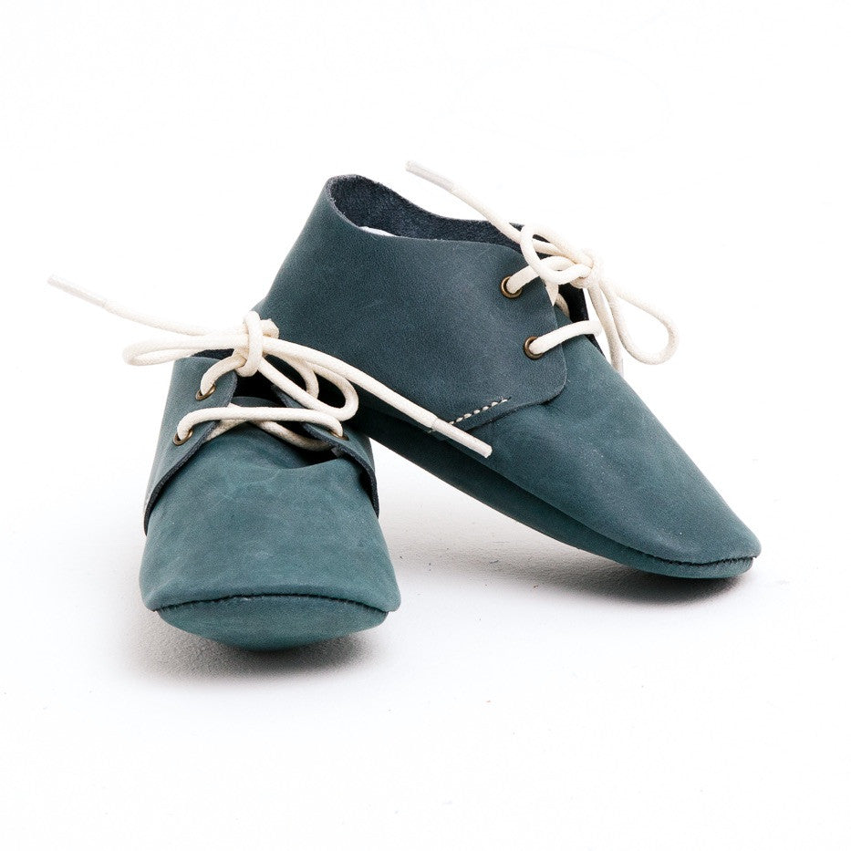 Baby Shoes - Teal Nubuck Oxford Shoes for Babies & Toddlers. Soft Soles Natural Leather boys & Girls Kit & Kate Perth Western Australia 1