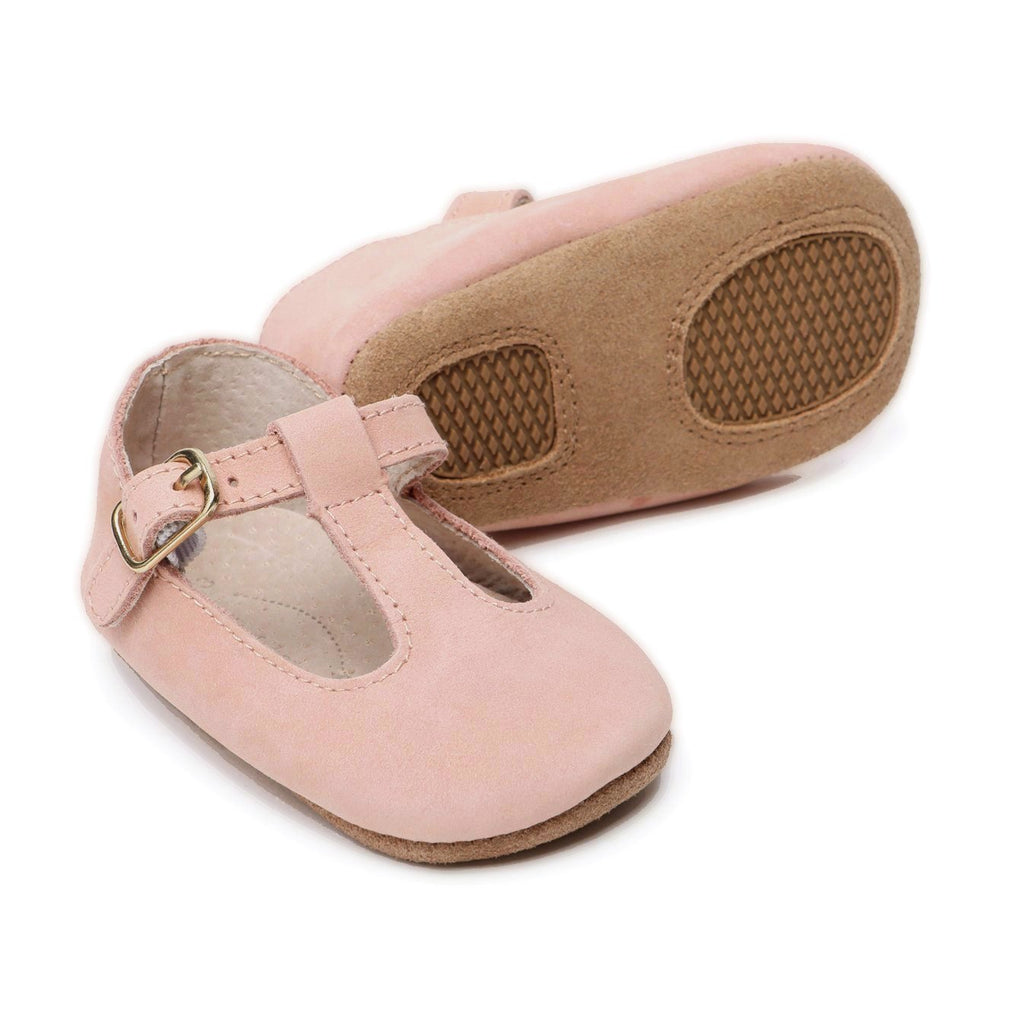 Baby Shoes - Paris baby t-bar pink nubuck natural leather shoes for babies & toddlers  Girls Kit & Kate , soft soled 2