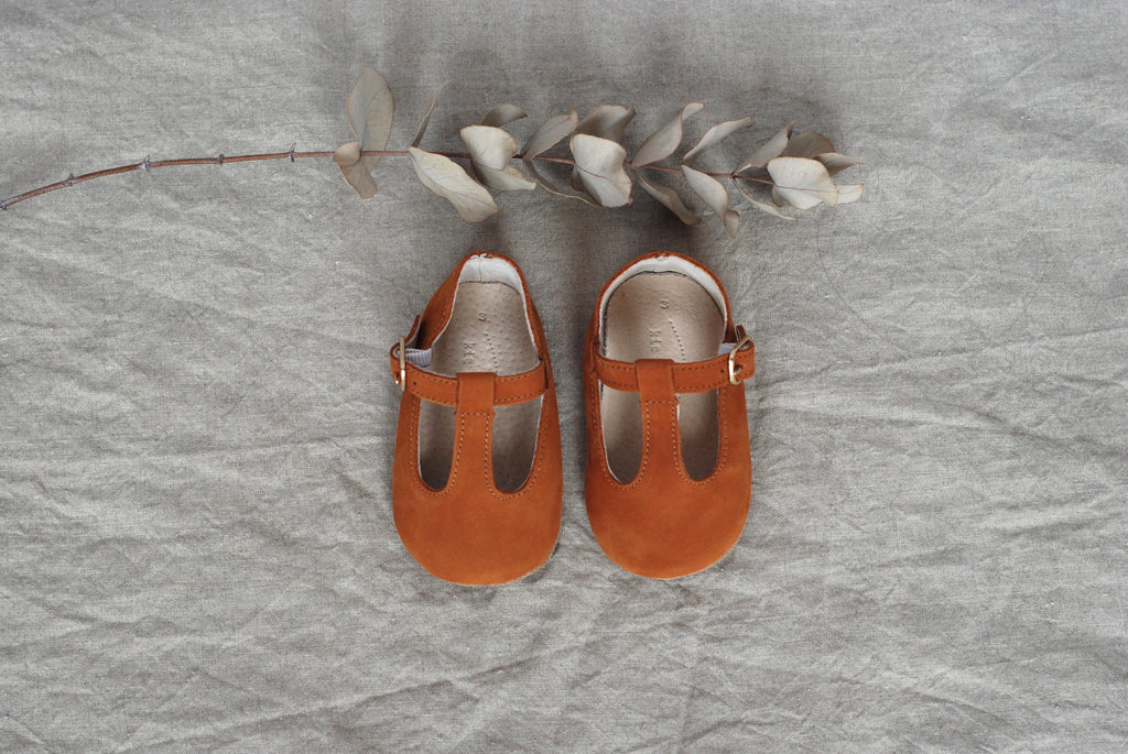Baby Shoes - Paris baby t-bar shoes for babies & toddlers, tan suede soft soles natural leather  Girls Kit & Kate 6