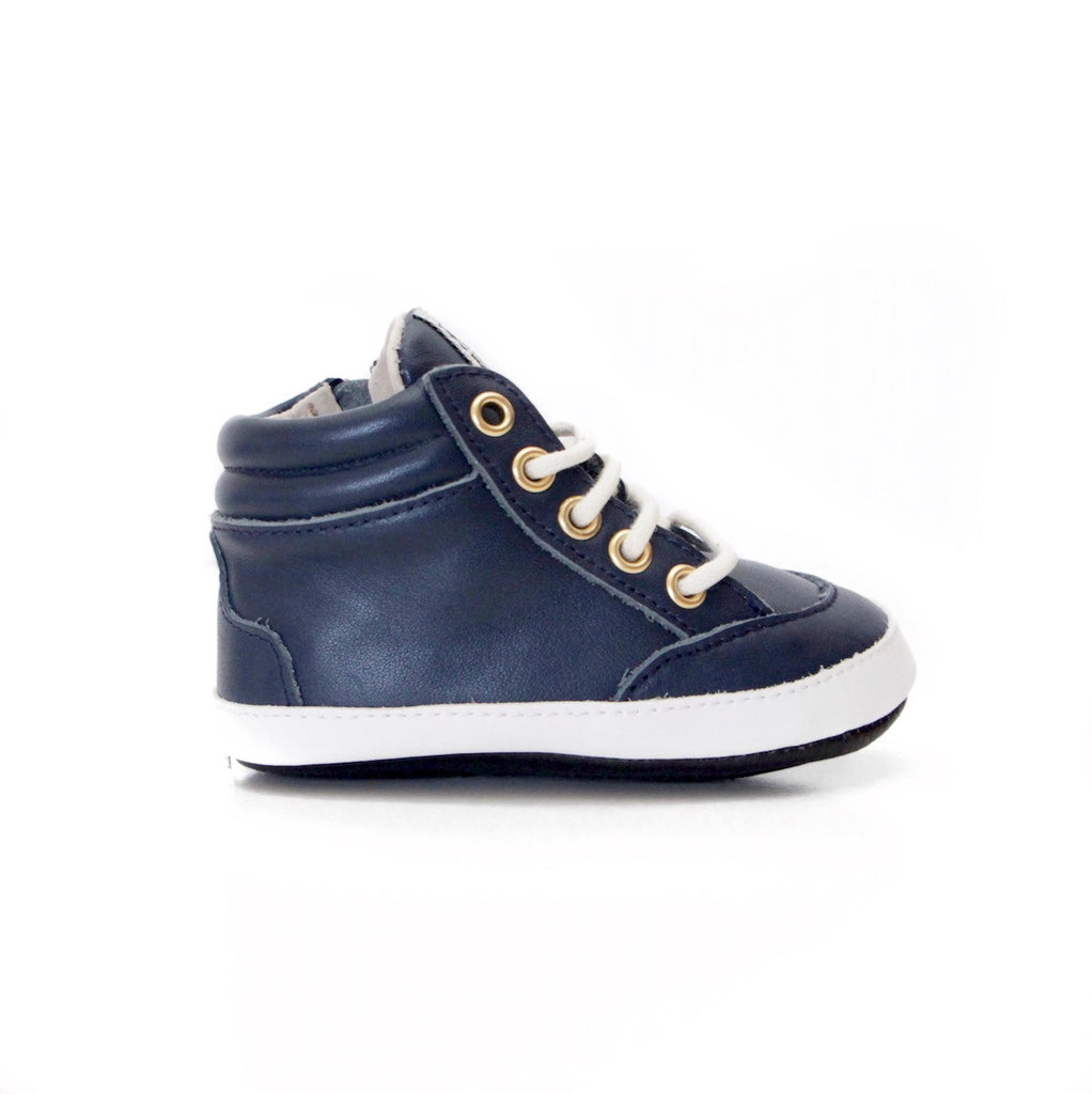 Baby Shoes - Dark Blue Navy Brooklyn Sneakers / Hightops - Shoes for babies & toddlers, soft soles natural leather Boys & Grls  Kit & Kate Australia 4