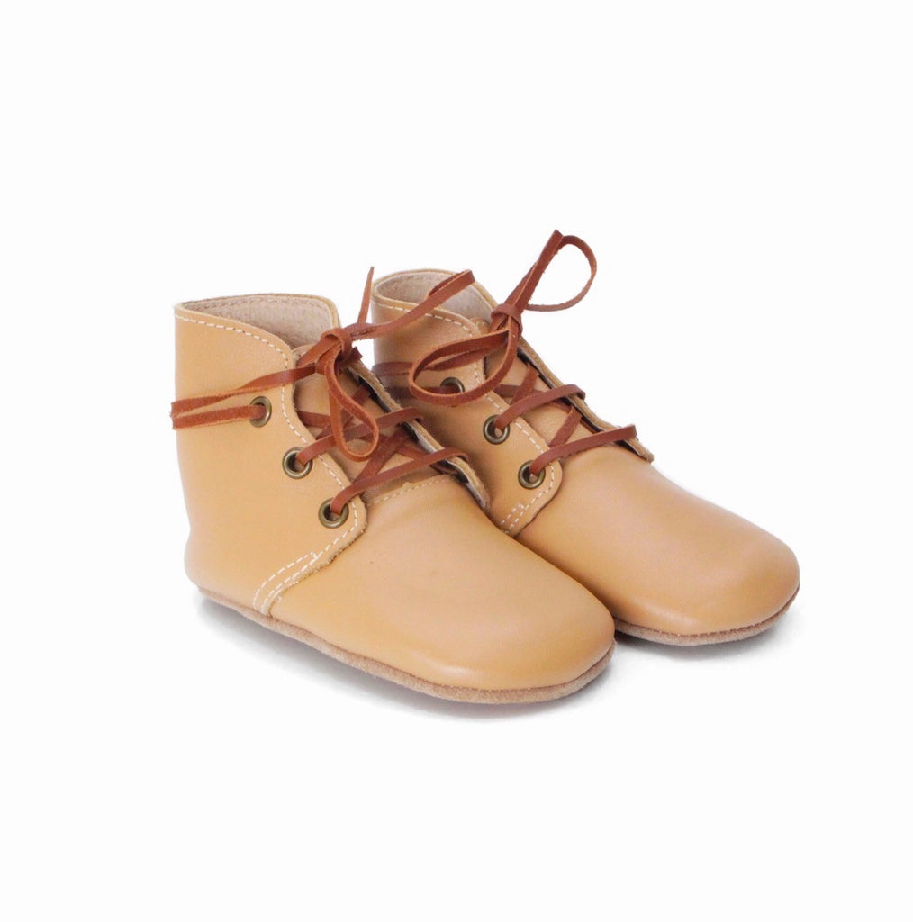 Baby Shoes - Aspen baby boots, shoes for babies & toddlers boys & girls, soft soles light brown beige natural leather Kit & Kate 5