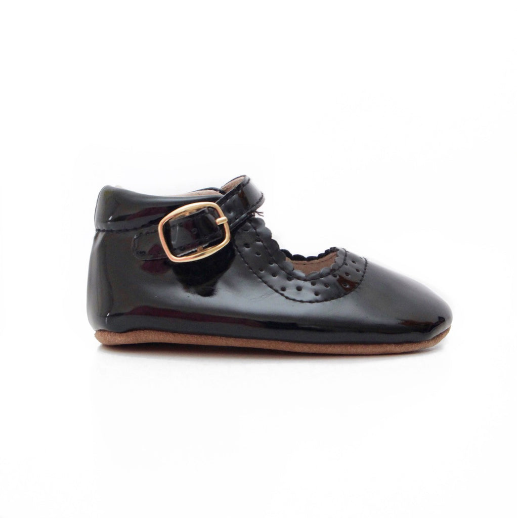 Baby Shoes - Eleanor Mary-Janes -Patent Black Shoes for babies & toddlers, girls, soft soles natural leather Kit & Kate 4