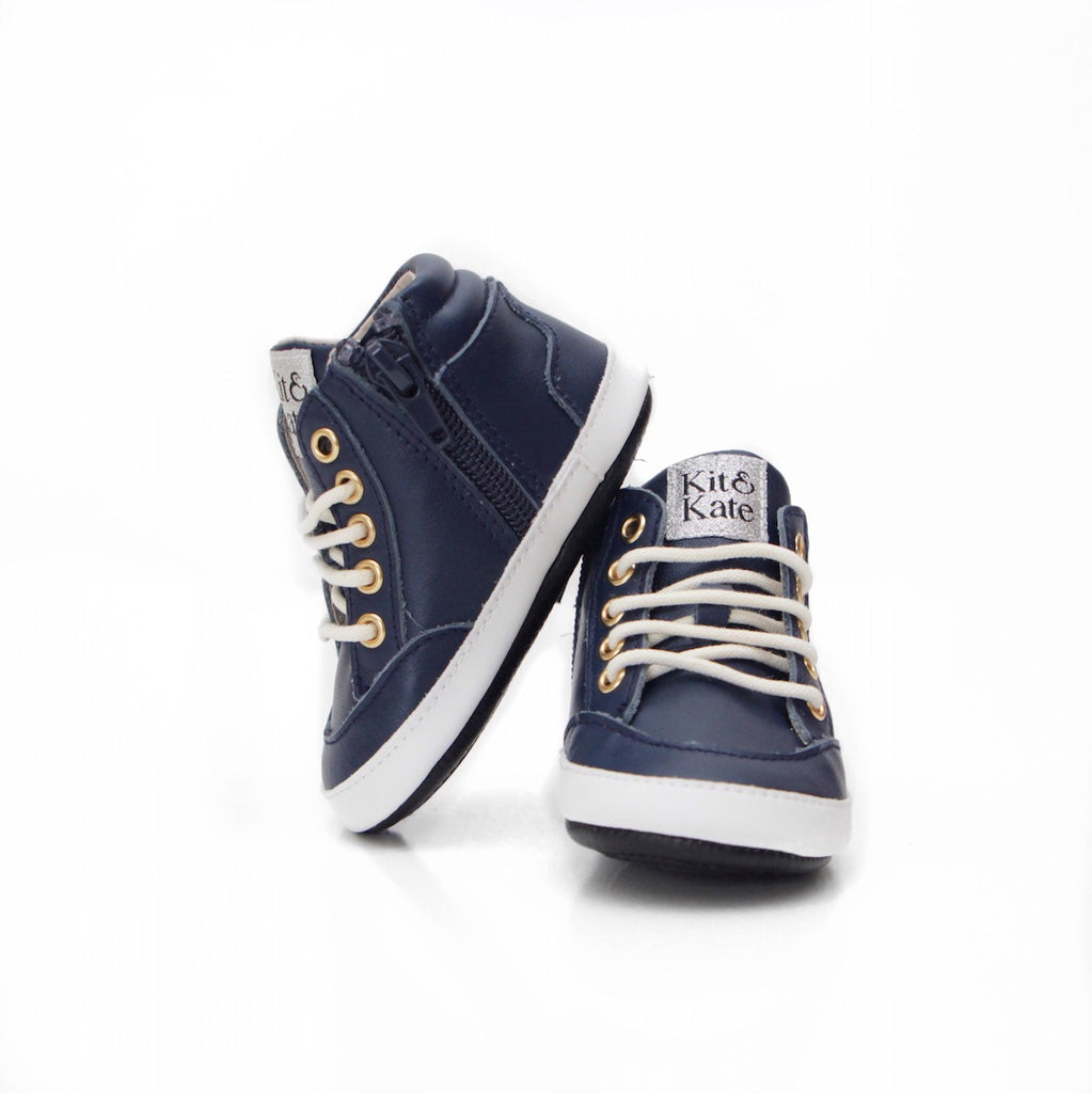 Baby Shoes - Dark Blue Navy Brooklyn Sneakers / Hightops - Shoes for babies & toddlers, soft soles natural leather Boys & Grls  Kit & Kate Australia 5