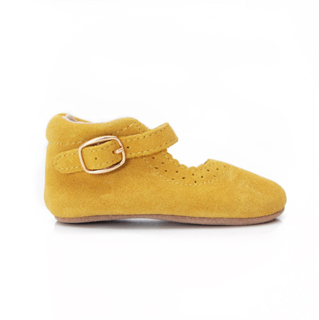 Baby Shoes - Eleanor Mary-Janes - Mustard Yellow Shoes for babies & toddlers, girls, soft soles natural leather Kit & Kate 1