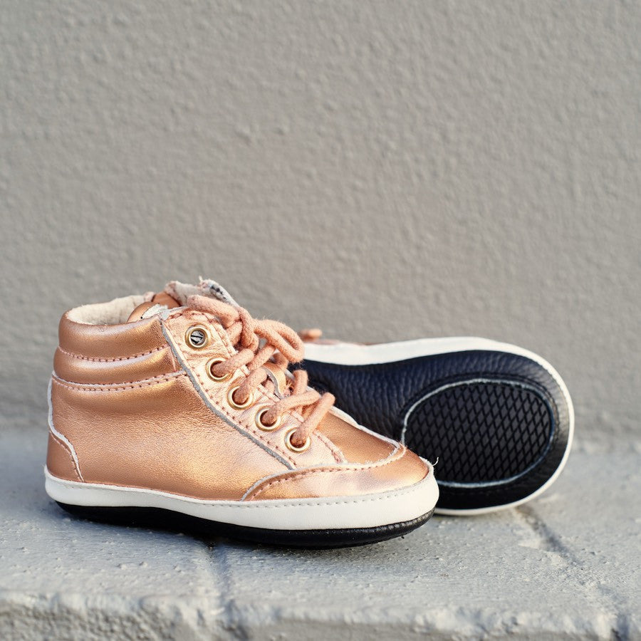 Baby Shoes - Rose Gold  Brooklyn Sneakers / Hightops - Shoes for babies & toddlers, soft soles natural leather Boys & Grls  Kit & Kate Australia 15