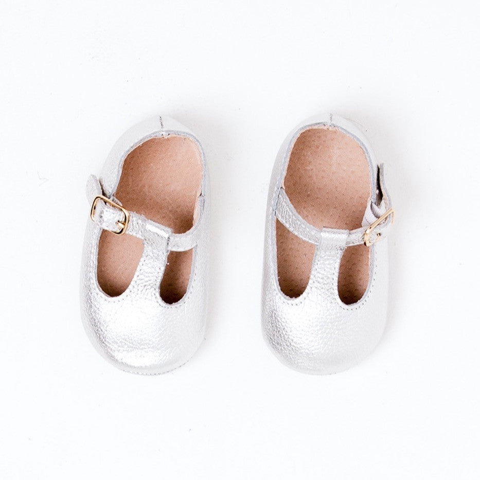 Baby Shoes - Silver Paris baby t-bar shoes for babies & toddlers little girls,, soft soles natural leather Kit & Kate c34