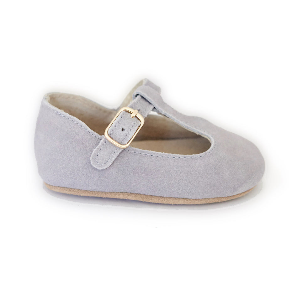 Baby Shoes - Paris baby t-bar shoes for babies & toddlers little girls,, soft soles natural leather light grey kit & kate 19