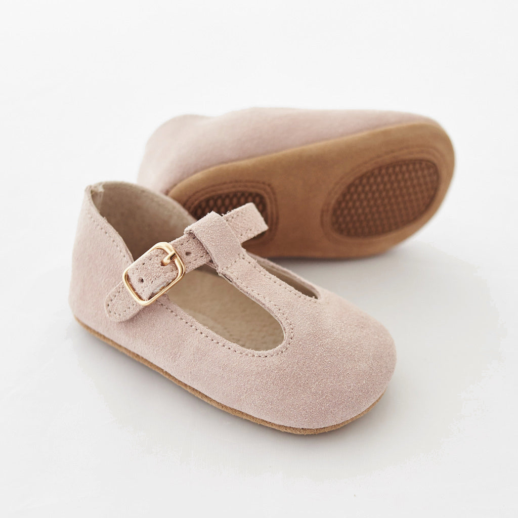 Baby Shoes - Paris baby t-bar shoes for babies & toddlers little girls,, soft soles natural leather light pink Kit & Kate c23