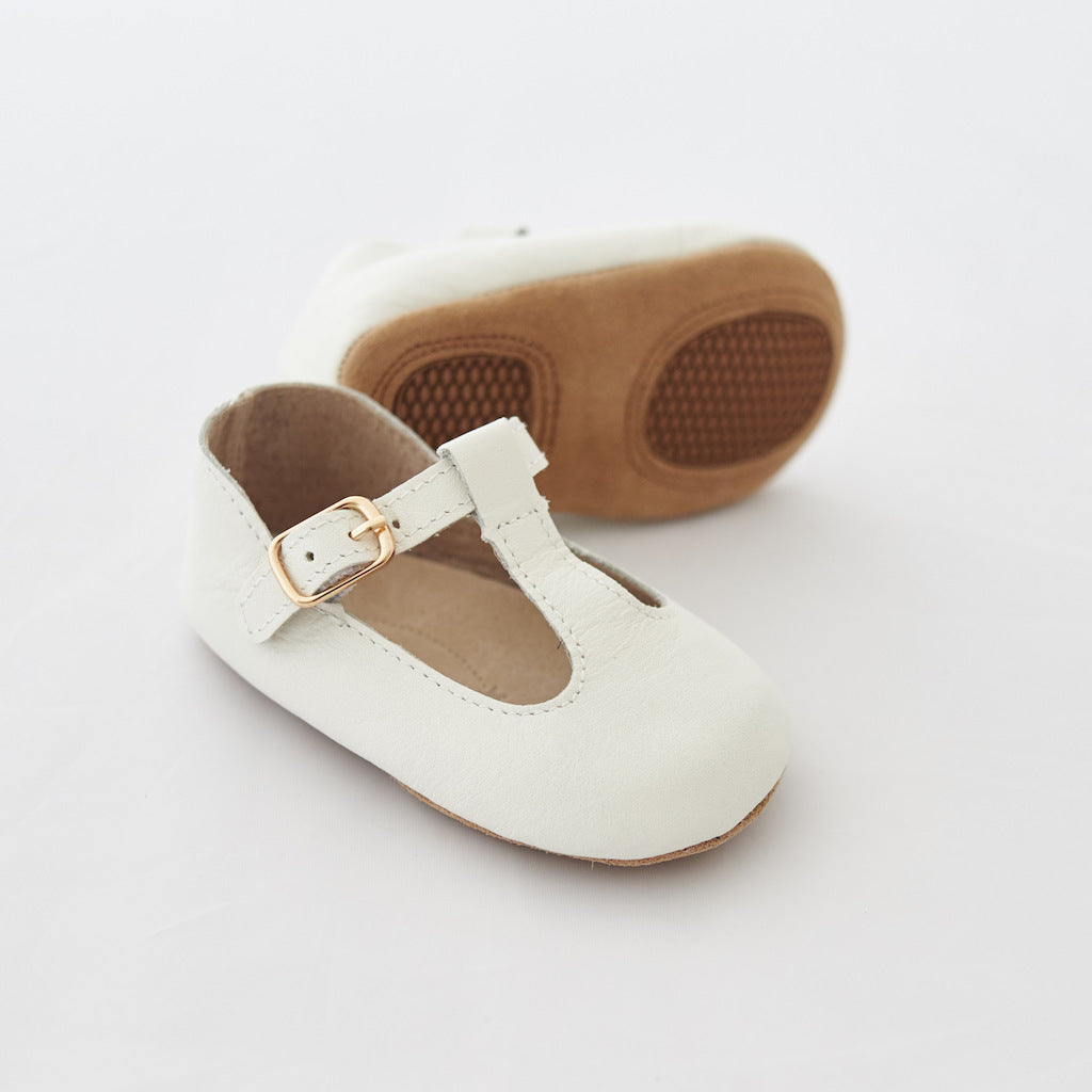 Baby Shoes - Paris baby t-bar shoes for babies & toddlers little girls,, soft soles natural leather white Kit & Kate16