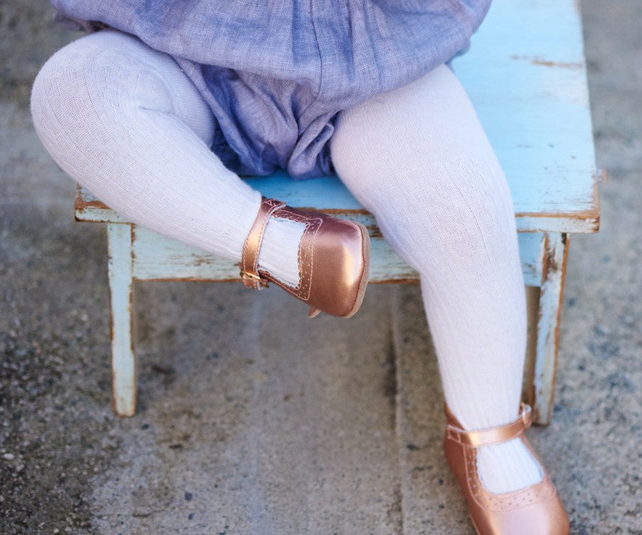 Baby Shoes - Eleanor Mary-Janes - Rose Gold Shoes for babies & toddlers, girls, soft soles natural leather Kit & Kate 3