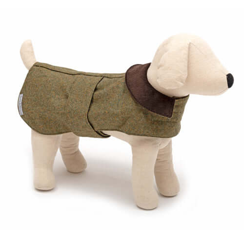 Forest Green Tweed Dog Coat