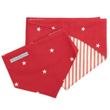 Cranberry Stars Cotton Reversible Dog Neckerchief