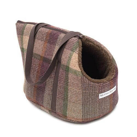 Grape Check Tweed Dog Carrier