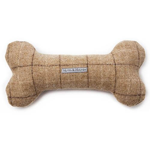 Mutts and Hounds Luxury Oatmeal Tweed Squeaky Bone Toy