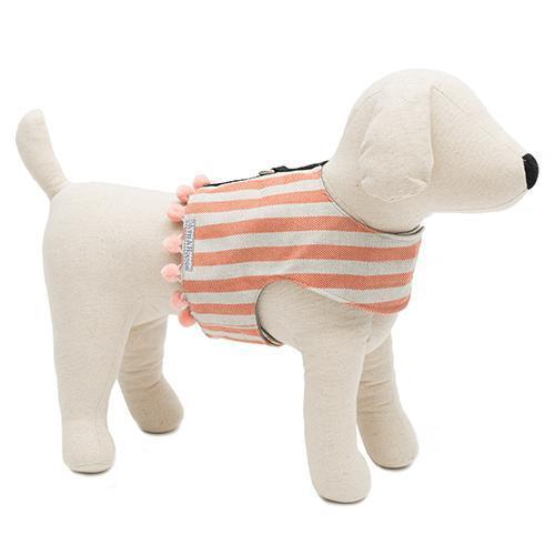 Mutts and Hounds Luxury Orange Stripe Brushed Cotton Soft Harness