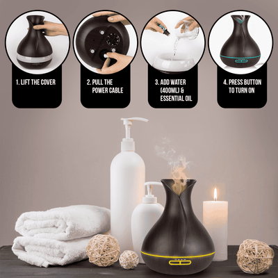 400ML USB Ultrasonic Humidifier Tulip Vase Style 5W Wood Grain Cool-Mist Aromatherapy Essential Oil Diffuser Air purifier Oil Diffuser BargzOils