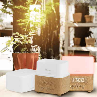 300ml Ultrasonic Aroma Diffusers Air Humidifiers Time Display,Bluetooth Speaker,LED Night light,Alarm Clock for Home Office BargzOils