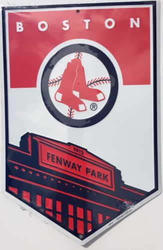 BOSTON RED SOX FENWAY PARK 1912 SIGN EMBOSSED METAL BANNER