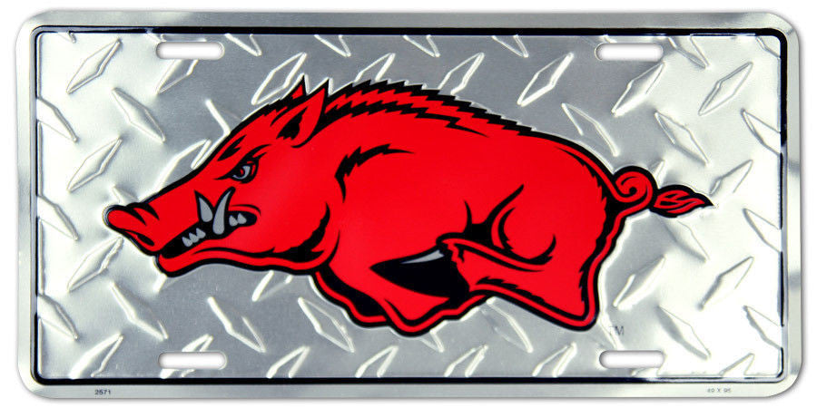 ARKANSAS RAZORBACKS LICENSE PLATE DIAMOND