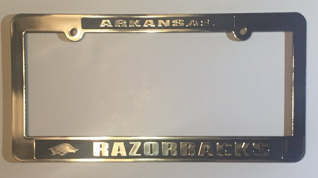 ARKANSAS RAZORBACKS CAR TRUCK TAG LICENSE PLATE FRAME UNIVERSITY SILVER BLACK