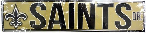 "NEW ORLEANS SAINTS STREET METAL 24X5.5"" SIGN DRIVE NFL DR ROAD AVE DISTRESSED"