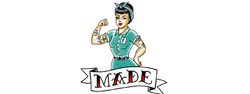 Made by Millworks Logo featuring an modern, American-traditional tattoo styled Rosie the Riveter.
