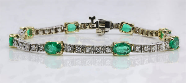 EMERALD/DIAMOND TENNIS BRACELET 14K TWO TONE