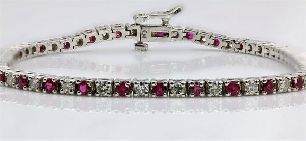 RUBY AND DIAMOND BRACELET 14K WHITE GOLD