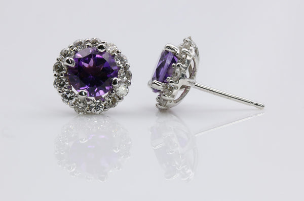 AMETHYST/DIAMOND HALO EARRINGS 14K WHITE GOLD