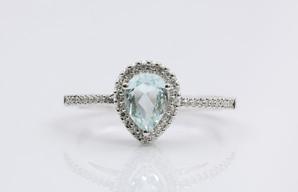 AQUAMARINE/DIAMOND RING 14K WHITE GOLD