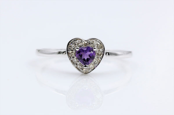 AMETHYST HEART SHAPE DIAMOND RING 14K WHITE GOLD