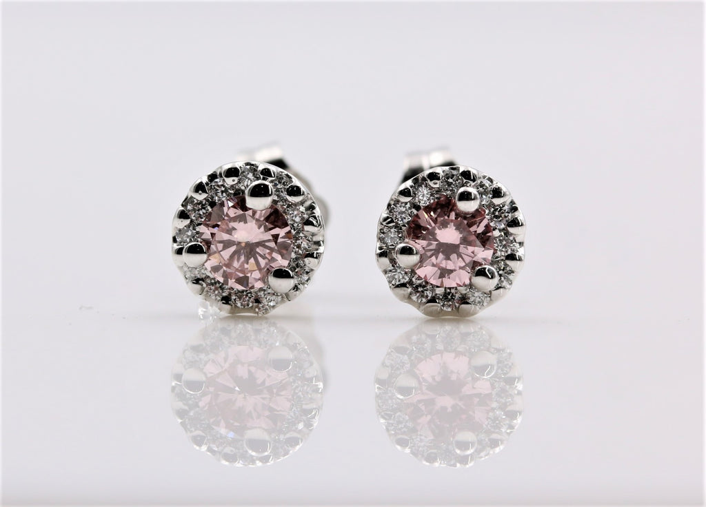 PINK HALO DIAMOND EARRINGS 14K WHITE GOLD