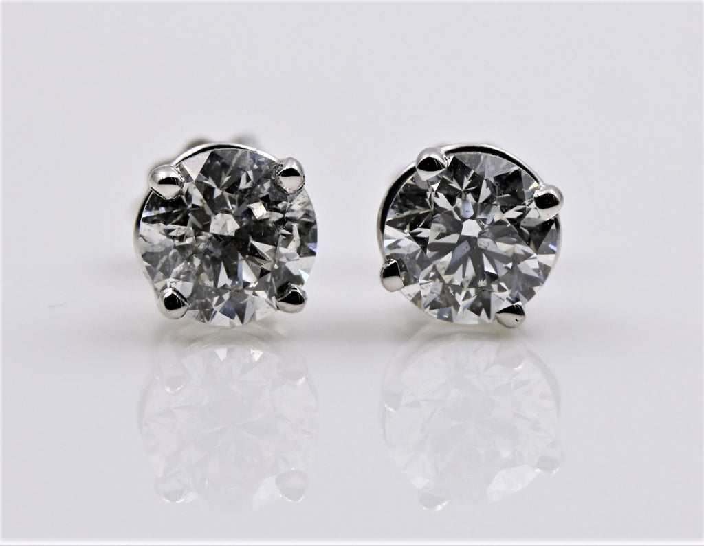 DIAMOND STUD EARRINGS 14K WHITE GOLD