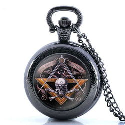 Antique Bronze Freemasonry Skull Master Mason Quartz Pocket Watch  Necklace - Free Masonic Ring Pocket Watch - Masonic Jewelry Free Masonic Ring - FreeMasonicRing.com