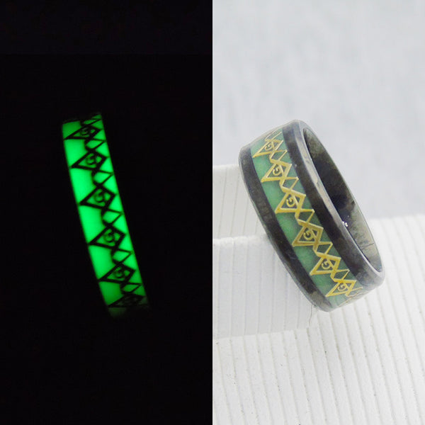 Luminous Ring Glow In The Dark 8mm Master Mason Masonic Signet Ring - Free Masonic Ring RING - Masonic Jewelry Free Masonic Ring - FreeMasonicRing.com