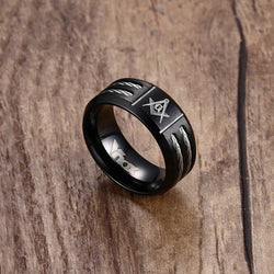 Black Stainless Steel Freemason Ring with cable tow inlay - Free Masonic Ring RING - Masonic Jewelry Free Masonic Ring - FreeMasonicRing.com