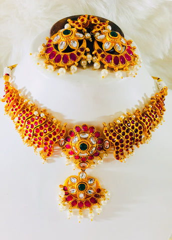 KUNDAN WITH KEMP STONE NECKLACE