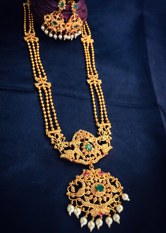 3 LAYER WITH GOLDEN BEADS NECKLACE